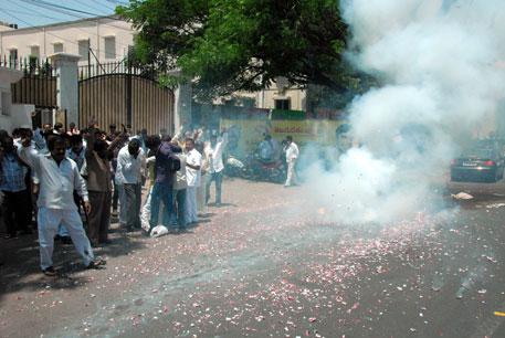 Telangana Rashtriya Samithy celebreaes its victory in Karim Nagar