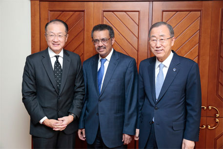 Secretary-General Ban Ki-moon (right) and Jim Yong Kim (left), President of the World Bank, meet with Tedros Adhanom Ghebreyesus, Foreign Minister of Ethiopia, during their trip to Addis Ababa, Ethiopia. UN Photo/Evan Schneider