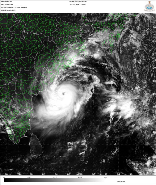 Eye of Cyclone Hudhud appears in the satellite image. Courtesy IMD
