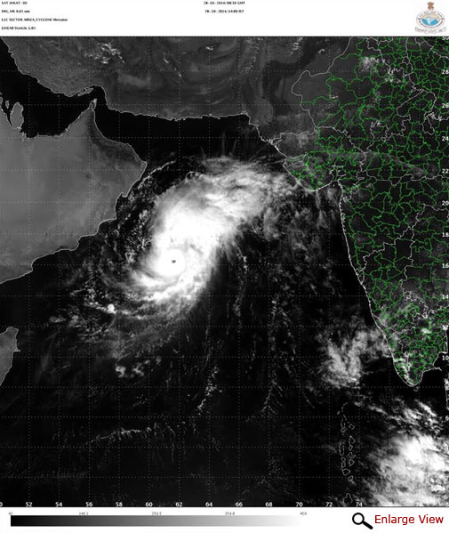Eye of Cyclone Nilofar becomes broader as seen in Tuesday afternoon's satellite image. Courtesy IMD