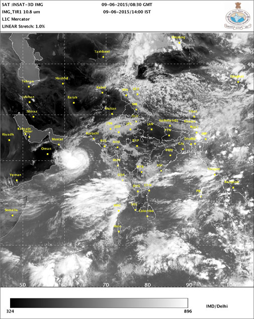 An image from Tuesday afternoon shows tropical storm ASHOBAA approaching Oman (Courtesy: IMD)