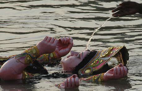 Idol immersions after Durga Puja leave rivers polluted yet again