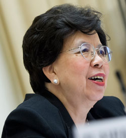 WHO Director-General Margaret Chan attends a briefing at the 68th World Health Assembly (Photo courtesy: WHO)