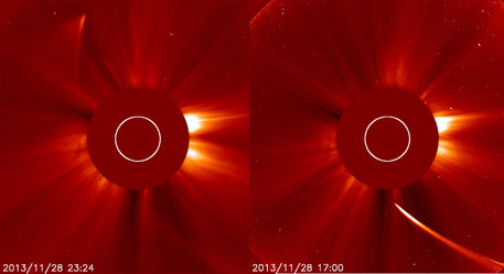 Has comet ISON survived sun's heat?