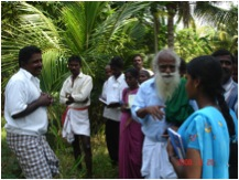 G. Nammalvar with farmers from KVB Puram, Chittoor. Erode, 2008
