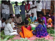 G. Nammalvar with farmers in Nalgonda district, 2007