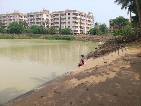 Though the pond water is slightly muddy, Nayapalli residents appreciate the village youth club's efforts. It prevents any kind of solid waste, not even a plastic bag or a tobacco wrapper, from entering the water body
