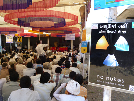 A meeting organised by the non-profits in Jasapara village a day before the public hearing