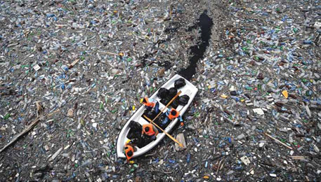 A Bulgarian reservoir choking on plastics (Source: 14 February 2013 | VOL 494 | NATURE | 169, DIMITAR DILKOFF/AFP/Getty)