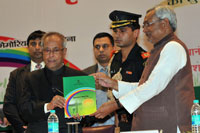 Pranab Mukherjee and Nitish Kumar launch agriculture roadmap for Bihar Credit: Prashant Ravi