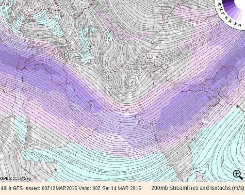 Approaching trough can be seen over Pakistan and north-west India on Friday in the upper part of troposphere (sourtesy- GFS model via COLA/IGES)
