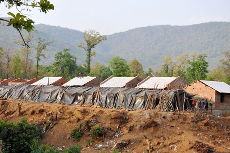 Resettlement colony at Asankadur village where the Khadia's were shifted in December 2013. (Photo: Biswajit Mohanty)