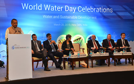 Sanwar Lal Jat, minister for water resources, speaks during the release of the report (Photo courtesy: UNESCO)