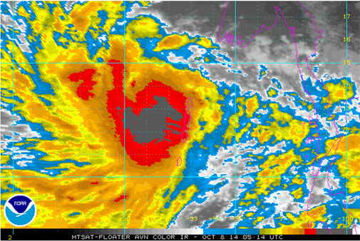 Tropical storm Hudhud is seen in this colour infrared image on the morning of October 8 (Photo courtesy: NOAA)