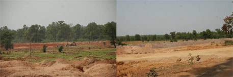 Salkha village: removal of topsoil, the first step in coal mining.