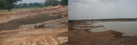 A coal pit (lft) and a dam near Salhi village (rt)