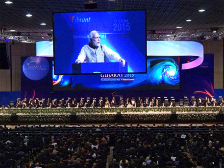 The summit this year was attended by UN Secretary-General Ban Ki-moon, among others (Image courtesy vibrantgujarat.com)