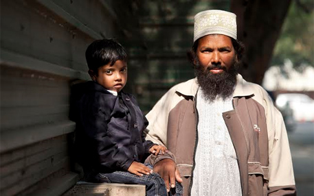 Mohammed Ahmed with his father at Delhi High Court. The boy is suffering from Gaucher's type-I which requires enzyme replacement therapy costing a few lakh rupees each month (photo by Chinky Shukla)