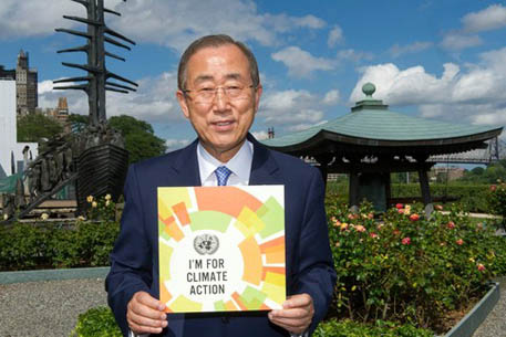 UN secretary-general, Ban Ki-moon has urged citizens of the world to take climate action in this photo, which goes around in social media. Image: United Nations