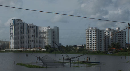 Highrises near Chilavanoor backwaters