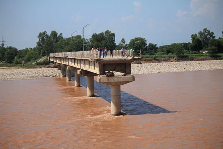 Bridge on the Tawi river washed away in the flood