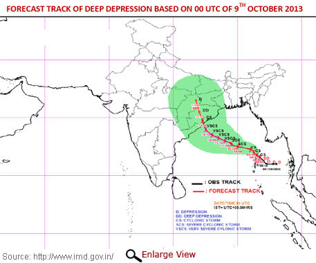 Super cyclone Phailin heads towards Odisha, Andhra
