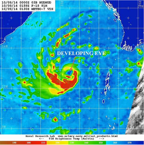 The developing eye (a hole) can be seen at the centre of tropical storm Hudhud (Photo courtesy: NRL)