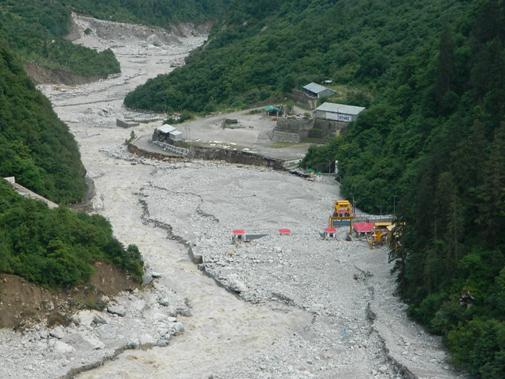 The collapsed Vishnuprayag dam after the 2013 floods in Uttarakhand (Photo: Matu Jansangthan)