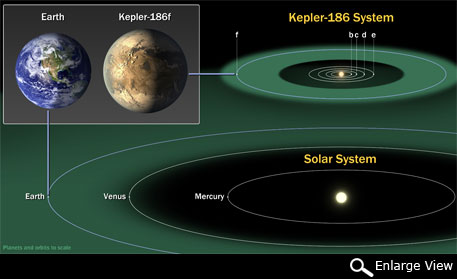 The diagram compares the planets of our inner solar system to Kepler-186 (Photo credit: NASA Ames/SETI)