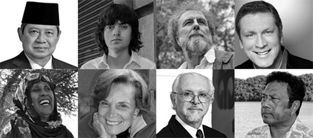 (Clockwise, from left) Susilo Bambang Yudhoyno, Boyan Slat, Sir Robert Watson, a representative of the US Green Building Council, Tommy Remengesau, Mario Molina, Sylvia Earle and Fatima Jibrell (Photo courtesy: UNEP News Centre)