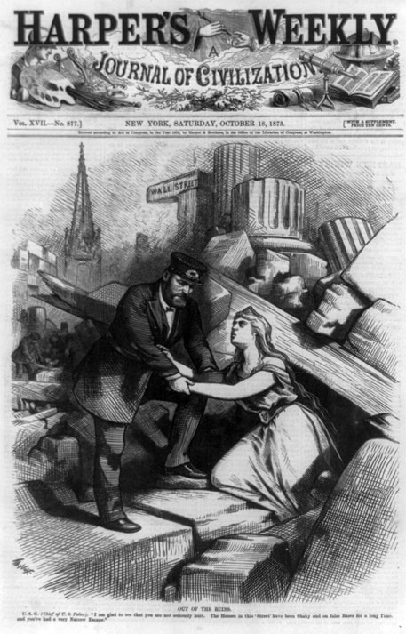 "Harper's Weekly graphic shows US President Ulyses Grant helping a female personification of the US out of a Wall Street rubble, saying, ""I am glad you are unhurt. Houses in this street have been on false bases for long""  (Created/Published: 1873, Repository: Library of congress prints and photographs division washington, D.C.)"
