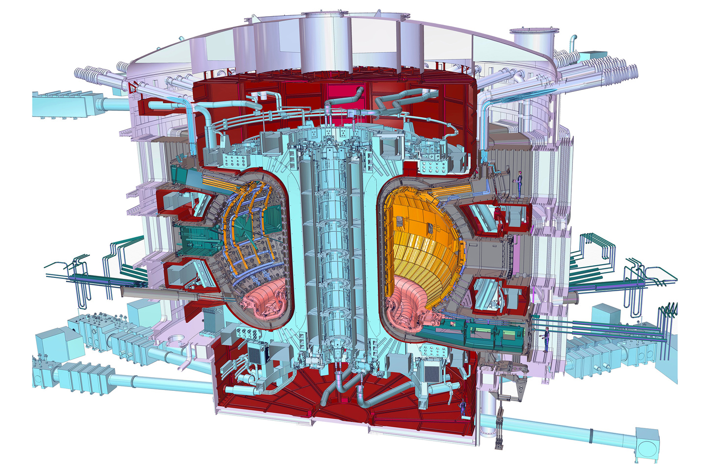 Nuclear fusion the clean power that will take decades to master a cross section cutaway of iter for scale note the human under the ccuart Images