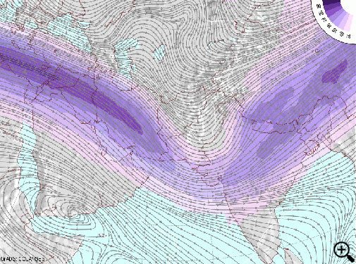 GFS weather model showing trough over India on Saturday, 28th February. Courtesy- COLA/IGES