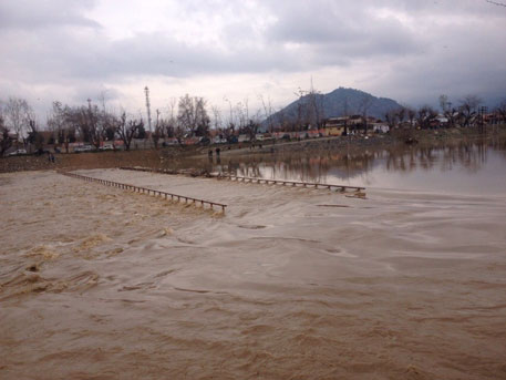 the Jhelum river in spate after heavy rainfall