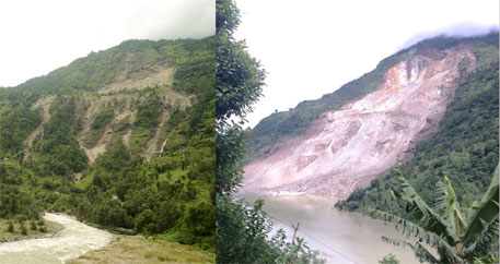 A landslide above Jure in 2013; the same landslide after the landslide event on 2 August 2014 (Photo on the left: Narendra R Khanal Photo on the right: Rocky Talchabhadel/DHM, courtesy ICIMOD)