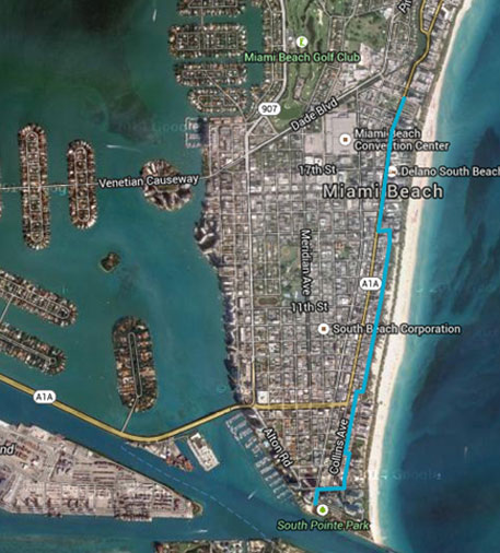 The blue line in the image is based on Climate Central's data showing where 6 feet of sea level rise will be on Miami Beach. Hal Wanless, professor at University of Miami, estimates a 2-feet sea level rise by 2048 (Photo courtesy: highwaterline.org/Google Maps)