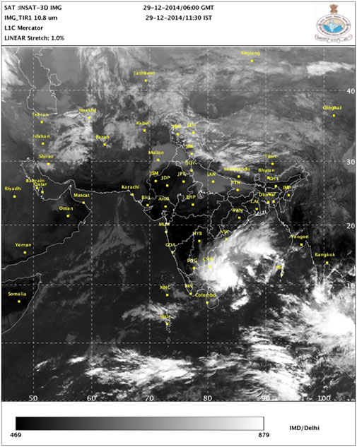 Satellite image on Monday morning shows the low pressure system in Bay of Bengal (Photo courtesy: IMD)