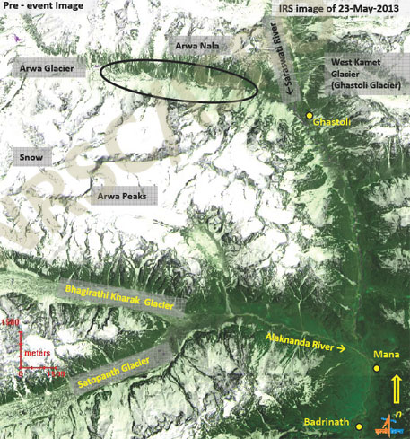 View of Arwa, Bhagirathi and Satopanth glaciers(Images courtesy National REmote Sensing Centre)