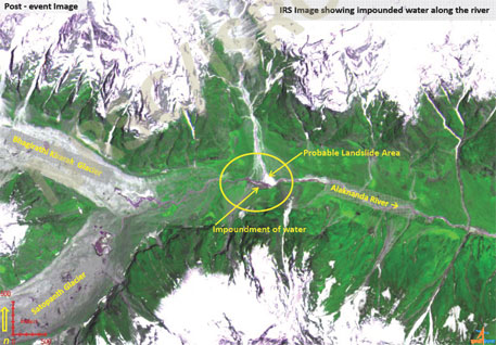 Satellite image showing impoundment of water on the Alaknanda during June (IRS image of June 21)