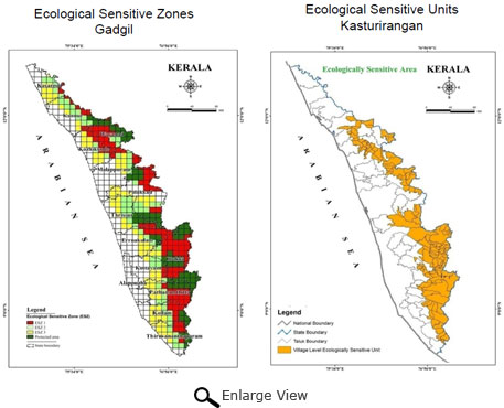 Comparison of recommendations by Kasturiragan panel and Madhav Gadgil panel (Source: Kerala Biodiversity Board)