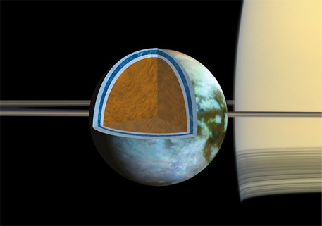 Researchers found that Titan's ice shell, which overlies a very salty ocean, varies in thickness around the moon, suggesting the crust is in the process of becoming rigid.(Image Credit: NASA/JPL/SSI/Univ. of Arizona/G. Mitri/University of Nantes)