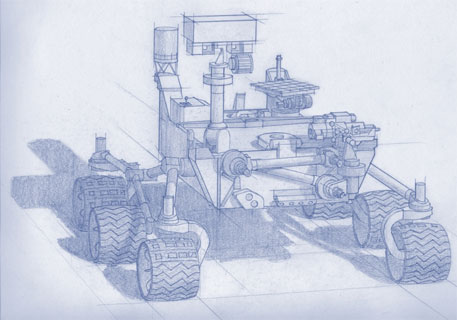 An unannotated version of the artist concept drawing of the rover