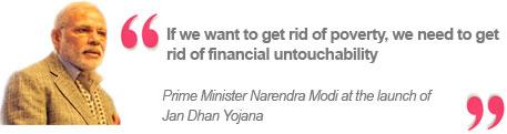 Prime Minister Narendra Modi at the launch of Jan Dhan Yojana