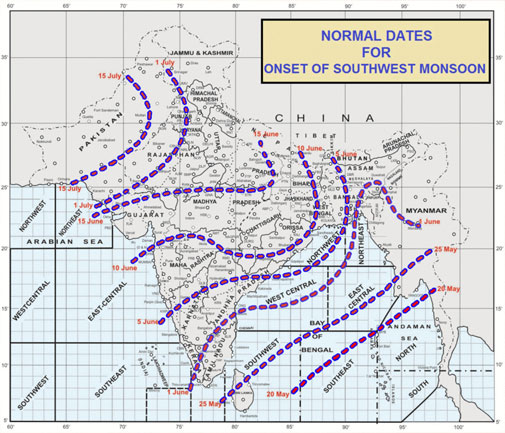 Normal dates for onset of southwest monsoon over India (Photo courtesy: India Meteorological Department)