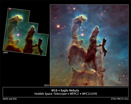 NASA's Hubble telescope reveals stunning image of Pillars of Creation