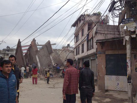 The latest major earthquake to rock Nepal on April 25, 2015, destroyed many buildings and damaged infrastructure in Nepal (Photo courtesy Guna Raj Luitel's twitter account)
