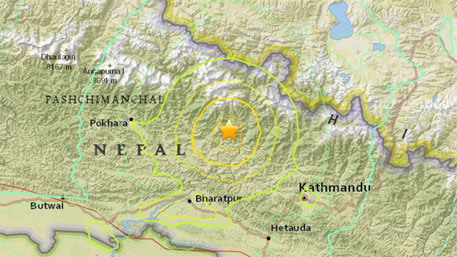 A map released by the US Geological Survey showing the location of the 7.9-magnitude earthquake. (Photograph: USGS/EPA )