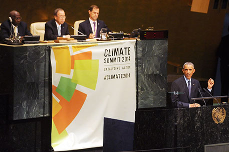 US President Barack Obama addresses the UN Climate Summit. He highlighted his administration's special efforts in mitigating impacts of climate change  (Photo courtesy IISD)