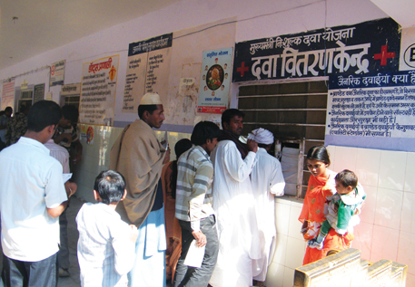 Patients outside the drug distribution centre at Jaisalmer district hospital