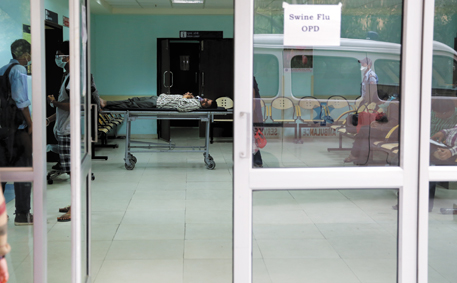 Due to the swine flu scare, the out patient department at Ram Manohar Lohia hospital in Delhi has been flooded with about 500 patients every day, much more than what the doctors can handle